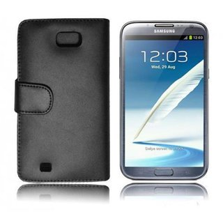 Cadorabo Book Case works with Samsung Galaxy NOTE 2 in OXID BLACK - with Stand Function and Card Slot made of Smooth Faux Leather - Wallet Etui Cover Pouch PU Leather Flip