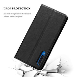 Cadorabo Book Case works with Samsung Galaxy A50 in NIGHT BLACK with Magnetic Closure, Stand Function and Card Slot Wallet Etui Cover Pouch PU Leather Flip