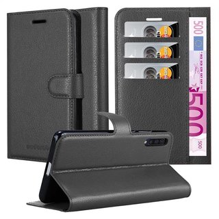 Cadorabo Book Case works with Samsung Galaxy A50 in OXID BLACK with Magnetic Closure, Stand Function and Card Slot Wallet Etui Cover Pouch PU Leather Flip