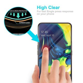 Cadorabo Tempered Glass works with Samsung Galaxy A80 in HIGH TRANSPARENCY - Screen Protection 3D Touch Compatible with 9H Hardness - Bulletproof Display Saver