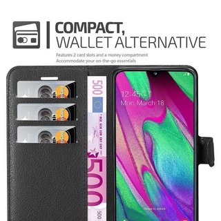 Cadorabo Book Case works with Samsung Galaxy A40 in OXID BLACK with Magnetic Closure, Stand Function and Card Slot Wallet Etui Cover Pouch PU Leather Flip