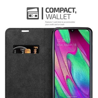Cadorabo Book Case works with Samsung Galaxy A40 in NIGHT BLACK with Magnetic Closure, Stand Function and Card Slot Wallet Etui Cover Pouch PU Leather Flip