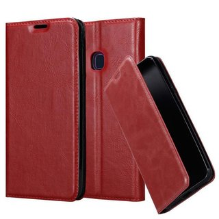 Cadorabo Book Case works with Samsung Galaxy A20e in APPLE RED with Magnetic Closure, Stand Function and Card Slot Wallet Etui Cover Pouch PU Leather Flip