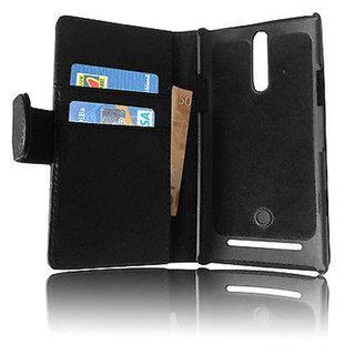 Cadorabo Book Case works with Sony Xperia S in OXID BLACK - with Stand Function and Card Slot made of Smooth Faux Leather - Wallet Etui Cover Pouch PU Leather Flip