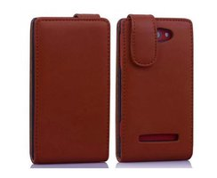 Cadorabo Case works with HTC 8X in COGNAC BROWN - Flip...