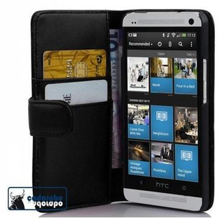 Cadorabo Book Case works with HTC ONE M7 in OXID BLACK -...