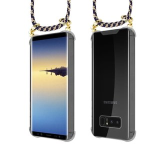 Cadorabo Handy Kette für Samsung Galaxy NOTE 8 in DUNKELBLAU GELB Silikon Necklace Umhänge Hülle mit Gold Ringen, Kordel Band Schnur und abnehmbarem Etui Schutzhülle