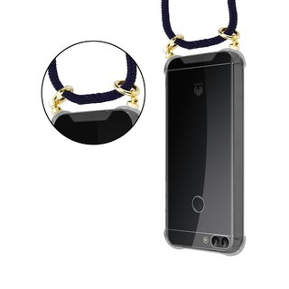 Cadorabo Handy Kette für Huawei P SMART 2018 / Enjoy 7S in TIEF BLAU - Silikon Necklace Umhänge Hülle mit Gold Ringen, Kordel Band Schnur und abnehmbarem Etui ? Schutzhülle