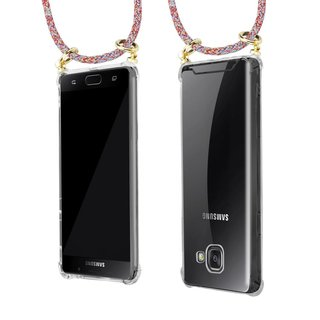 Cadorabo Handy Kette für Samsung Galaxy A5 2016 in COLORFUL PARROT - Silikon Necklace Umhänge Hülle mit Gold Ringen, Kordel Band Schnur und abnehmbarem Etui ? Schutzhülle