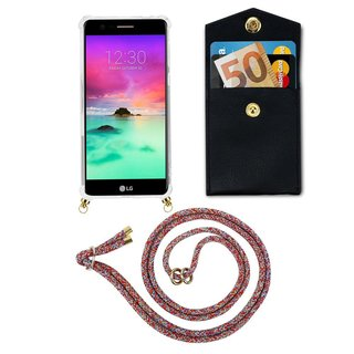 Cadorabo Handy Kette für LG K10 2017 in COLORFUL PARROT Silikon Necklace Umhänge Hülle mit Gold Ringen, Kordel Band Schnur und abnehmbarem Etui Schutzhülle