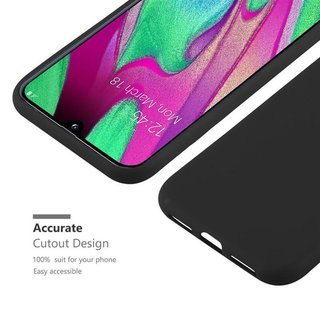 Cadorabo Case works with Samsung Galaxy A40 in CANDY BLACK Shockproof and Scratch Resistant TPU Silicone Cover Ultra Slim Protective Gel Shell Bumper Back Skin