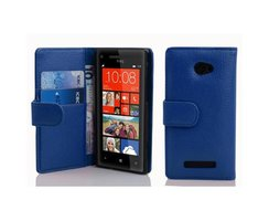 Cadorabo Book Case works with HTC 8X in NAVY BLUE - with...
