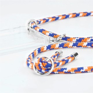 Cadorabo Handy Kette für Apple iPhone 8 PLUS / 7 PLUS / 7S PLUS in ORANGE BLAU WEISS Silikon Necklace Umhänge Hülle mit Silber Ringen, Kordel Band Schnur und abnehmbarem Etui Schutzhülle