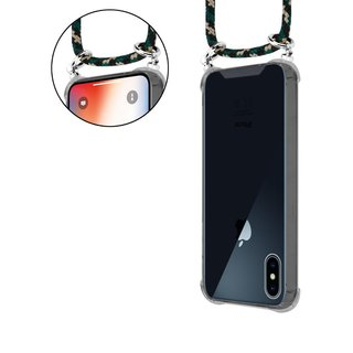 Cadorabo Handy Kette für Apple iPhone X / XS in CAMOUFLAGE - Silikon Necklace Umhänge Hülle mit Silber Ringen, Kordel Band Schnur und abnehmbarem Etui - Schutzhülle