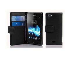 Cadorabo Book Case works with Sony Xperia J in OXID BLACK...