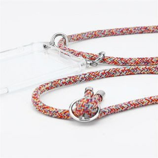 Cadorabo Handy Kette für Samsung Galaxy A5 2016 in COLORFUL PARROT Silikon Necklace Umhänge Hülle mit Silber Ringen, Kordel Band Schnur und abnehmbarem Etui Schutzhülle