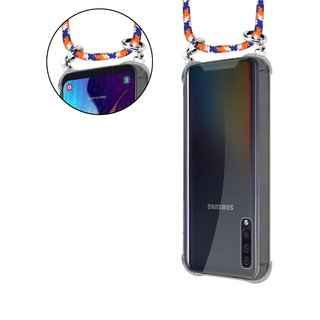 Cadorabo Handy Kette für Samsung Galaxy A50 in ORANGE BLAU WEISS Silikon Necklace Umhänge Hülle mit Silber Ringen, Kordel Band Schnur und abnehmbarem Etui Schutzhülle