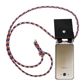 Cadorabo Handy Kette für Samsung Galaxy J7 2015 in ORANGE BLAU WEISS Silikon Necklace Umhänge Hülle mit Silber Ringen, Kordel Band Schnur und abnehmbarem Etui Schutzhülle