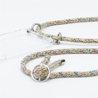 Cadorabo Handy Kette für Samsung Galaxy S9 PLUS in RAINBOW Silikon Necklace Umhänge Hülle mit Silber Ringen, Kordel Band Schnur und abnehmbarem Etui Schutzhülle