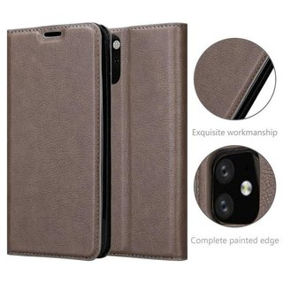 Cadorabo Book Case works with Apple iPhone 11 (XI) in COFFEE BROWN - with Magnetic Closure, Stand Function and Card Slot - Wallet Etui Cover Pouch PU Leather Flip