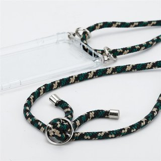 Cadorabo Handy Kette für Apple iPhone 11 PRO MAX (XI PRO MAX) in CAMOUFLAGE Silikon Necklace Umhänge Hülle mit Silber Ringen, Kordel Band Schnur und abnehmbarem Etui Schutzhülle