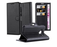 Cadorabo Book Case works with HTC ONE ME in OXID BLACK...