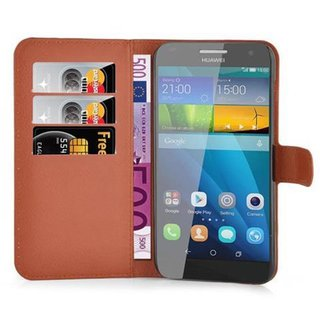 Cadorabo Book Case works with Huawei G7 in SADDLE BROWN -...