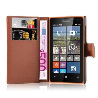 half off fba06 6e5c0 Cadorabo Book Case works with Nokia Lumia 532 in SADDLE BROWN - with  Magnetic Closure, Stand Function and Card Slot - Wallet Etui Cover Pouch PU  ...