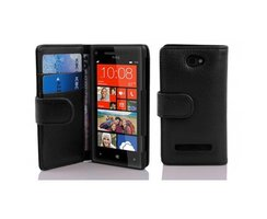 Cadorabo Book Case works with HTC 8S in OXID BLACK - with...