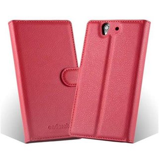 Cadorabo Book Case works with Sony Xperia Z in CANDY APPLE RED - with Magnetic Closure, Stand Function and Card Slot - Wallet Etui Cover Pouch PU Leather Flip