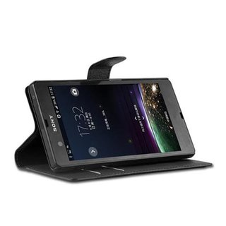 Cadorabo Book Case works with Sony Xperia Z in OXID BLACK - with Magnetic Closure, Stand Function and Card Slot - Wallet Etui Cover Pouch PU Leather Flip