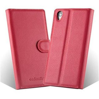 Cadorabo Book Case works with Sony Xperia Z1 in CANDY APPLE RED - with Magnetic Closure, Stand Function and Card Slot - Wallet Etui Cover Pouch PU Leather Flip