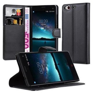 Cadorabo Book Case works with Sony Xperia Z3 PLUS Compact in OXID BLACK - with Magnetic Closure, Stand Function and Card Slot - Wallet Etui Cover Pouch PU Leather Flip