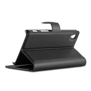 Cadorabo Book Case works with Sony Xperia Z5 in OXID BLACK - with Magnetic Closure, Stand Function and Card Slot - Wallet Etui Cover Pouch PU Leather Flip