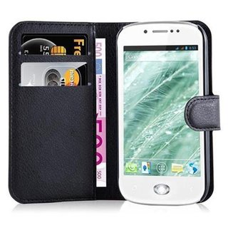 Cadorabo Book Case works with WIKO SUBLIM in OXID BLACK - with Magnetic Closure, Stand Function and Card Slot - Wallet Etui Cover Pouch PU Leather Flip