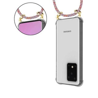 Cadorabo Handy Kette für Samsung Galaxy S20 ULTRA in COLORFUL PARROT - Silikon Necklace Umhänge Hülle mit Gold Ringen, Kordel Band Schnur und abnehmbarem Etui - Schutzhülle