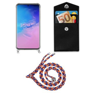 Cadorabo Handy Kette für Samsung Galaxy S20 ULTRA in ORANGE BLAU WEISS - Silikon Necklace Umhänge Hülle mit Silber Ringen, Kordel Band Schnur und abnehmbarem Etui - Schutzhülle