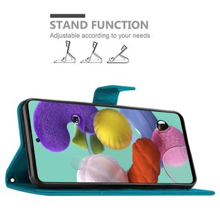 Cadorabo Book Case works with Samsung Galaxy A51 in FLORAL BLUE ? Cover in Flower Design with Magnetic Closure, Stand Function and 3 Card Slots - Wallet Etui Pouch PU Leather Flip