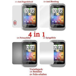 Cadorabo - 4 x Screen Protector Pack HQ for > HTC WILDFIRE S < (Package: Matt / Privacy / Mirror / Anti Glare)