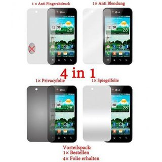 Cadorabo - 4 x Screen Protector Pack HQ for > LG Optimus Black P970 < (Package: Matt / Privacy / Mirror / Anti Glare)