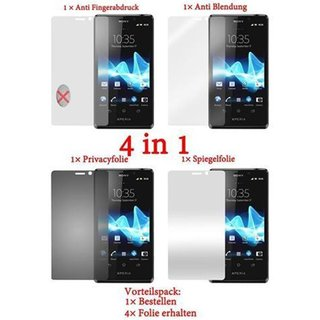 Cadorabo 4 x Screen Protector Pack HQ for > Sony Xperia T < (Package: Matt / Privacy / Mirror / Anti Glare)