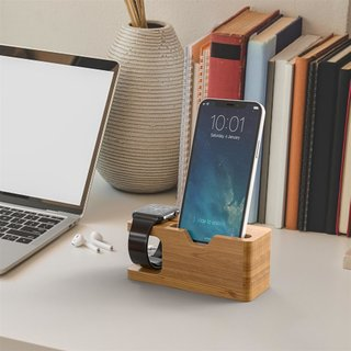 Cadorabo ? Docking Station Real Bamboo for iPhone and Apple Watch