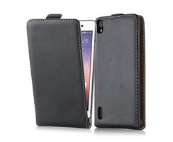 Cadorabo Case works with Huawei P7 in CAVIAR BLACK - Flip...
