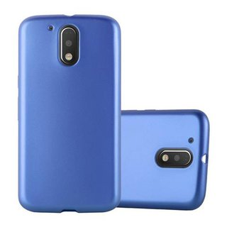 free shipping ed741 ac8fd Cadorabo Case works with Motorola MOTO G4 / G4 PLUS in METALLIC BLUE -  Shockproof and Scratch Resistant TPU Silicone Cover - Ultra Slim Protective  Gel ...
