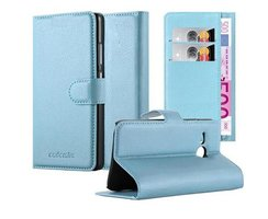 Cadorabo Book Case works with HTC ONE M8 MINI in SKY BLUE...