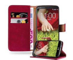 Cadorabo Book Case works with LG G2 in WINE RED - with...