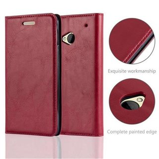 Cadorabo Book Case works with HTC ONE M7 in APPLE RED -...