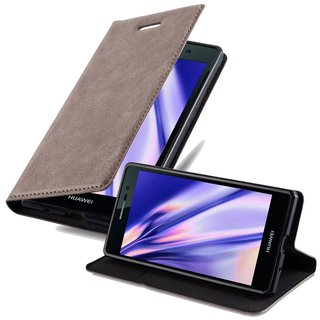 Cadorabo Book Case works with Huawei P7 in COFFEE BROWN -...