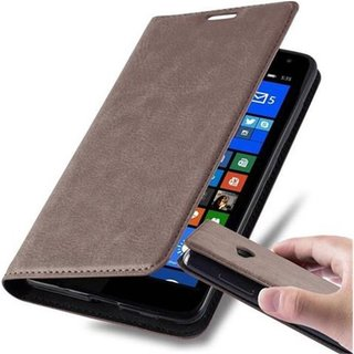 Cadorabo Book Case works with Nokia Lumia 535 in COFFEE...