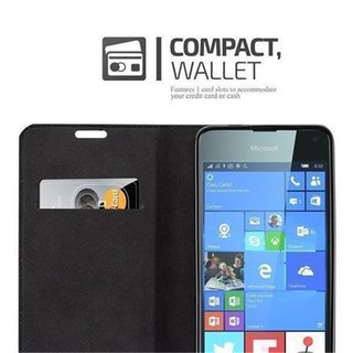 Cadorabo Book Case works with Nokia Lumia 650 in NIGHT BLACK - with Magnetic Closure, Stand Function and Card Slot - Wallet Etui Cover Pouch PU Leather Flip